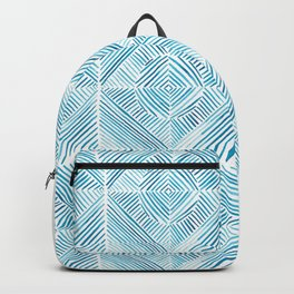 Blue Watercolor Dash Squares Backpack