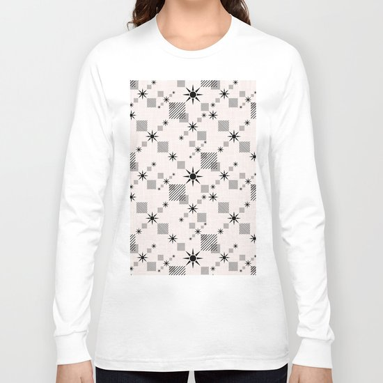Abstract black pattern on a cream background Long Sleeve T-shirt