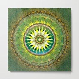 Mandala Green Metal Print
