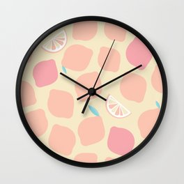 Pastel pink lemons pattern Wall Clock