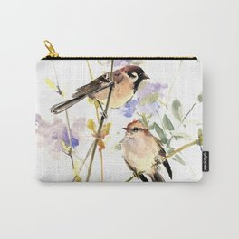 Sparrows and Spring Blossom Carry-All Pouch