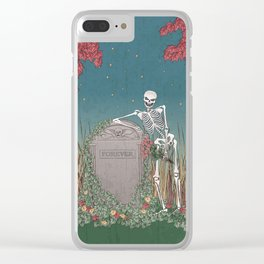 Skeleton Leaning on Grave Clear iPhone Case