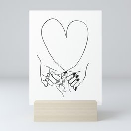 Parent Pinky Promise Family Line Art Mother Father Baby Mini Art Print