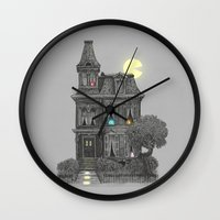haunted mansion Wall Clocks featuring Haunted by the 80's by Terry Fan