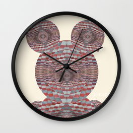 Perception: Checkered red and grey creature Wall Clock
