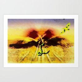 Snake ad bird in the desert Art Print
