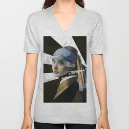"""Vermeer's """"Girl with a Pearl Earring"""" & Audrey  Unisex V-Neck"""