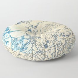 Blue and White Ideas and doodles Floor Pillow