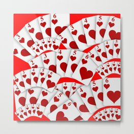 "DECORATIVE RED ""ROYAL FLUSH"" IN RED HEARTS SUIT Metal Print"