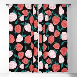 Pink strawberry pattern on black background, tutti frutti trend! Blackout Curtain