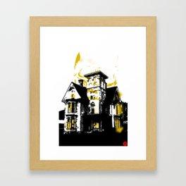 HelloHorror Issue 3 Cover Detail - haunted house Framed Art Print