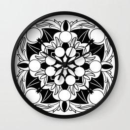 sacred bat mandala Wall Clock