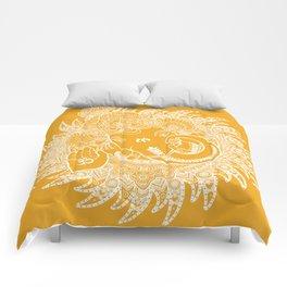 Ganesha Lineart Yellow White Comforters