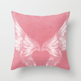 Pink/White Ethereal Angel Wing Digital Mural Art Throw Pillow