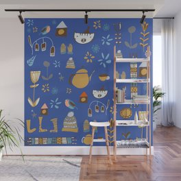hygge cat and bird blue Wall Mural