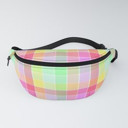 Pastel Rainbow Sorbet Ice Cream Check Plaid Fanny Pack