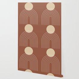 Mid Century Modern Geometric 3 (Terrocatta and beige) Wallpaper