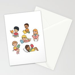 Kids Reading Books Stationery Cards