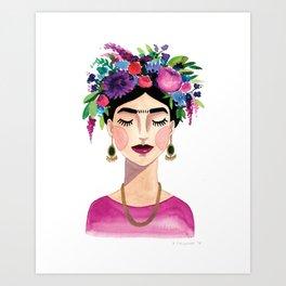 Floral Frida - Pink Art Print