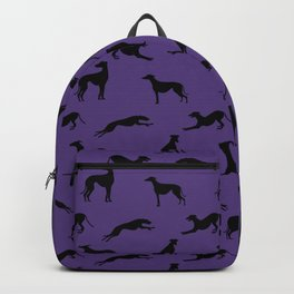 Greyhound Silhouettes on Purple Backpack