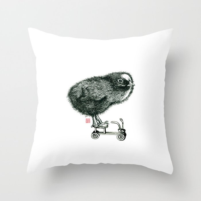 Chick on speed Throw Pillow
