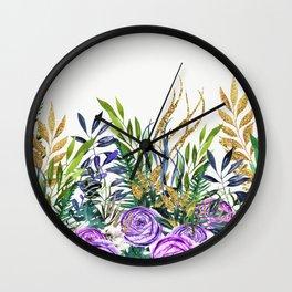 Gold Glitter Purple Garden Wall Clock