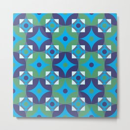 Circle and squares mosaic pattern in blue and green Metal Print