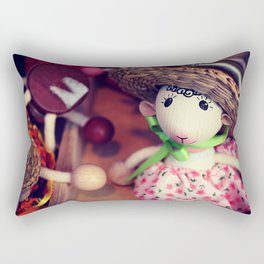 Wooden doll on the Christmas market Rectangular Pillow