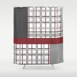 Grey Red Burgundy Checkered Gingham Patchwork Color Canvas Shower Curtain