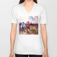 dmmd V-neck T-shirts featuring dmmd beach by Mottinthepot