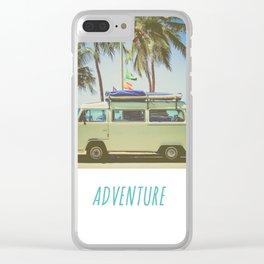 Surf Van Road Trip Beach California Clear iPhone Case