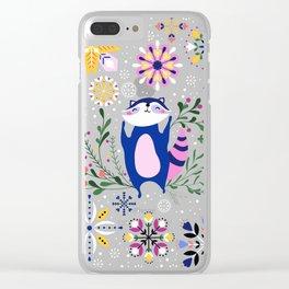 Happy Raccoon Card Clear iPhone Case