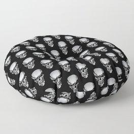 Chrome Skull Illustration Floor Pillow