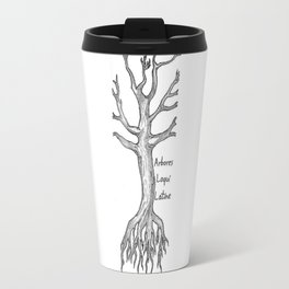 Arbores Loqui Latine Black and White Travel Mug