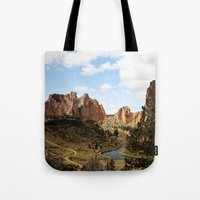 melissa smith Tote Bags featuring Smith Rock by Sylvia Cook Photography