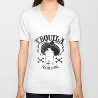 tequila V-neck T-shirts featuring Tequila Tradicional by Tshirt-Factory