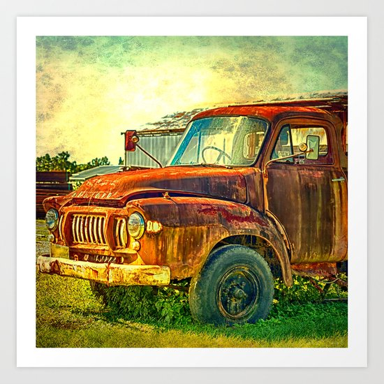Old Rusty Bedford Truck Art Print