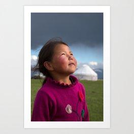 Kyrgyz girl, Song Kol lake, Kyrgyzstan Art Print