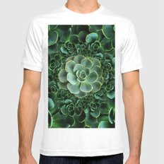 ORNATE JADE & DARK GREEN SUCCULENT  GARDEN White Mens Fitted Tee MEDIUM