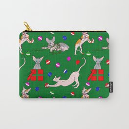christmas sphynx (naked cat) ugly sweater Carry-All Pouch