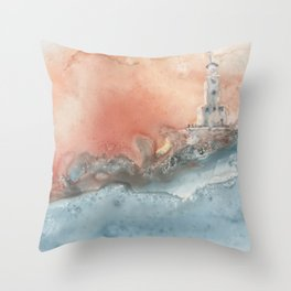 Storm at North Manitou Island Shoal Throw Pillow