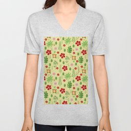 Tropical yellow red green modern floral pattern Unisex V-Neck