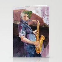 saxophone Stationery Cards featuring Playing saxophone by aurora villaviejas
