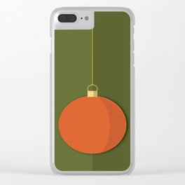 Christmas Globe - Illustration in Green and Orange Clear iPhone Case