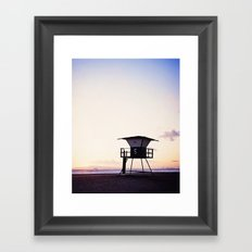 Vintage Lifeguard Tower Silhouette at Sunset, Sunset Beach, California Framed Art Print
