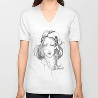narwhal V-neck T-shirts featuring Narwhal by Mortimer Sparrow