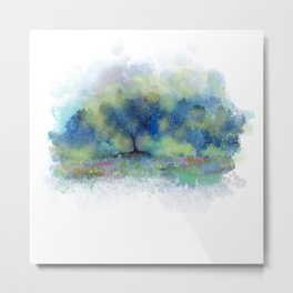 Blue Trees, Yellow Kisses Metal Print