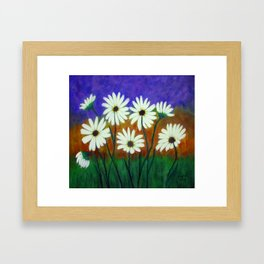White daisies-Abstract Framed Art Print