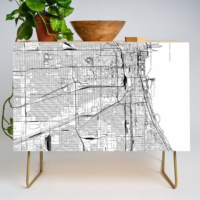 Chicago White Map Credenza