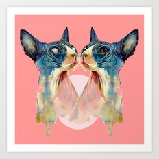 cat, pink Art Print